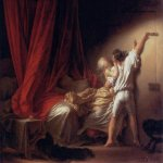 Jean-Honore Fragonard (1732-1806)  The lock  Oil on canvas, 1776-1779  71 × 92 cm (27.95 × 36.21 in)  Musée du Louvre, Paris, France